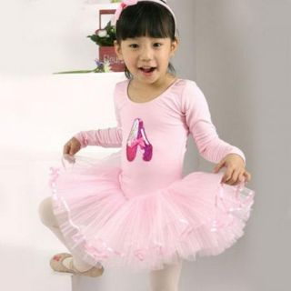 Pink Girls Party Leotard Ballet Tutu Costume Long Sleeve Dance Skate Dress 3 8Y