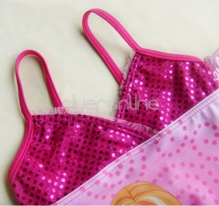 2012 Barbie 5T Pink Paillettes Girls Swimsuit Swimming Costume Tankini Bathing