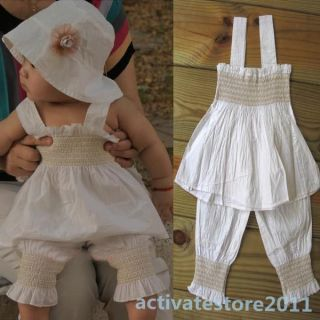Baby Girls Kids Ruffled Top Pants Hat Set 3 Pieces Outfit Costume Clothes 0 3Y