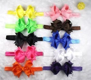 "3 5"" 10 Baby Infant Girl Costume Boutique Hair Bows Flower Silk Headband A2 DD"
