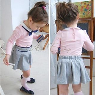 Girls Baby Kid Long Sleeve Top Shirt Skirt Tutu Dress Outfits Costume 2pc Sz 2 6