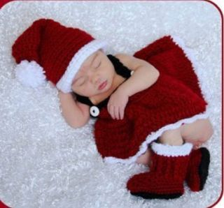100 Hand Knitted Baby Christmas Costume Santa Claus Photo Photography Props