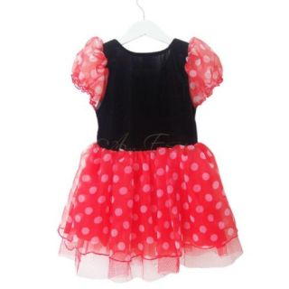 Red Polka Dots Girl Minnie Mouse Costume Baby Chiffon Dress Tutu Skirt Sz 3 4 5