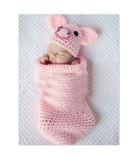 Cute Baby Infant Knitted Pig Piggy Costume Photo Photography Prop Newborn