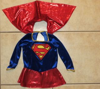 Infant Superman Costume Baby Girl 12 18 MO Dress with Cape Blue Velvet Red Shine