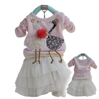 Baby Girls Kids Swan Dress Top and Chiffon Skirt Tutu Costume Size 3 4Y
