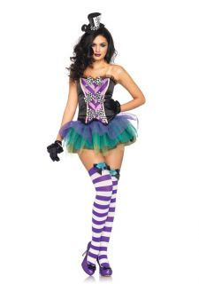 Sexy Mad Hatter Bustier Tutu Costume Dress Adult New