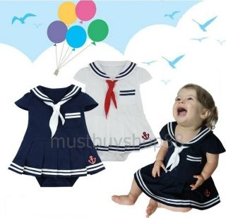Cute Baby Toddler Girl Sailor Costume One Pieces Navy or White 3 18 Months