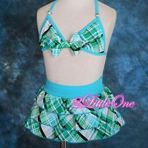 Blue Girl Swimsuit Swimwear Swimming Costume 2pc Toddler Size 4 5 039