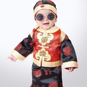 Chinese Costume Tang Suit Baby Boy'Sclothes Winter Dress Newborn Outfit Hat Vest