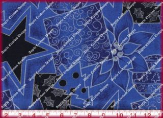 Fabri Quilt Cotton Christmas Fabric Silver Gilt Art Deco Style on Blue 1 Yard