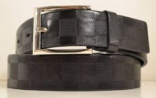 New Mens Designer Style Black Leather Checkered Dress Casual Golf Buckle Belt XL