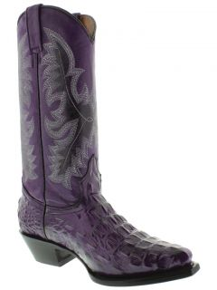 Womens Ladies Purple Crocodile Alligator Back Leather Cowboy Boots Western Rodeo
