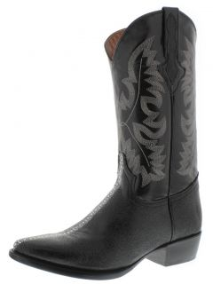 Men's Black Leather Stingray Full Row Stone Cowboy Boots Western Rodeo Biker