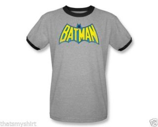 New Authentic Batman Classic Batman Logo Mens Ringer Tee Shirt