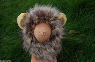New Pet Costume Lion Mane Wig for Dog Cat Halloween Cloth Fancy Dress Up Ears