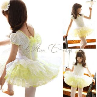 Girl Lace Ballet Dance Costume Bowknot Skate Party Tutu Leotard Dress Sz 4 7