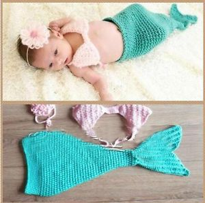 Cute Baby Girl Toddler Infant Mermaid Costume Set Photo Photography Prop L40