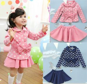 Baby Kids Coat Top Skirt Dress 2 Piece Outfit Set 1 6Y Costume Beauty Clothing