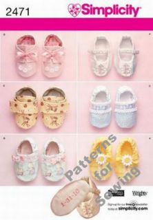 Pattern Sewing Simplicity Toddler Infant Baby Girl Boy Shoes Slippers New