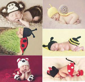 6 Pcs Sets Hand Knitted Baby Crocheted Photography Prop Newborn Costume Outfits