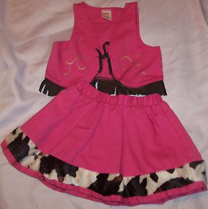 Baby Girls Gymboree 2pc Vest Skirt Cowgirl Halloween Costume Size 18 24mths 2T