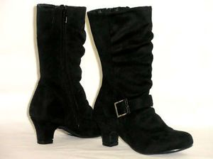 Girls Kid Tall Slouchy Buckle Boots Low Heel Pageant Costume Black Toddler 11
