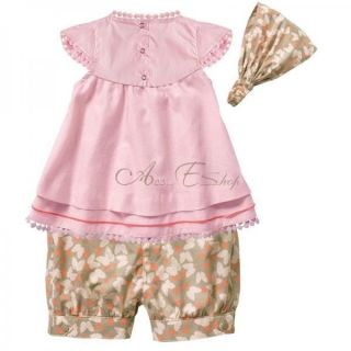 Girl Toddlers Baby Short Top Pants Headband 3pcs Costume Clothing Sz 1 2 3