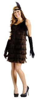 Flapper Adult Womens Costume Black Fringe Elegant Dress Gold Trimmings Halloween