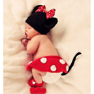 Newborn 12M Baby Girl Boy Crochet Knit Cute Minnie Costume Photo Props Outfit