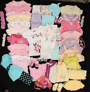 Huge 50 Piece Newborn 0 3 3 6 Month Baby Girl Summer Clothes Lot