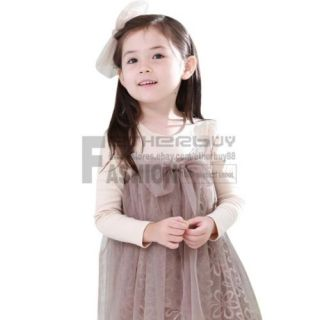 Girl Kid Long Sleeve Tulle Lace Party Dress One Piece Costume Bowknot Sz 2 6