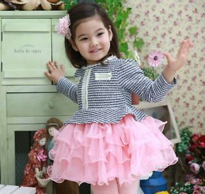 1pc Baby Girl Toddler Kids Princess Pageant Striped Dress Outfit Clothes Tutu