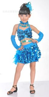 Girls Kids Jazz Latin Tango Samba Party Costume Dance Dress Skirt Glove Set