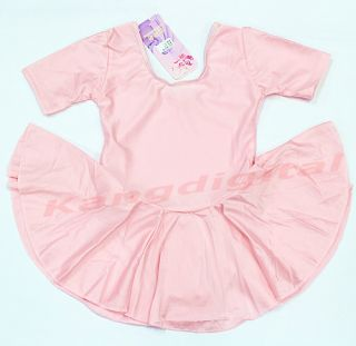 Girls Kids Ballet Costume Tutu Skirt Party Short Sleeve Leotards Dance Dress