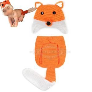 Fox Hat Pant Newborn Baby Girl Boy Infant Knit Crochet Clothes Photo Prop Outfit