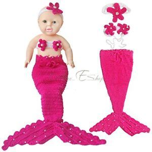 Little Mermaid Newborn Baby Girls Outfit Crochet Knit Tail Costume Photo Props