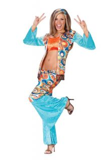 Hippie Chic Adult Women's Costume Halloween Sexy Stunning Vest Color Retro Party