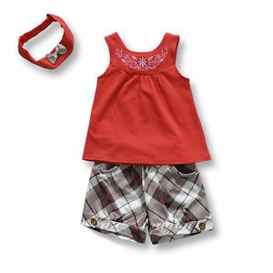 3pcs Baby Girls Toddlers Headband Top Pants Shorts Outfit Clothes Vintage 9 18M