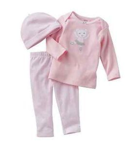 Carters Baby Girl Clothes 3 Piece Outfit Set Pink Bear 3 6 9 Months