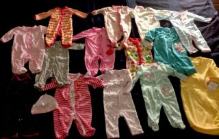 13 PC Lot 3 Months Baby Girl Clothes One Piece Bodysuits Sleep Sack