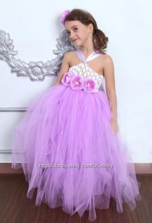 Lavender Baby Girl Wedding Party Pageant Costume Toddler Tutu Dress 1 8Y