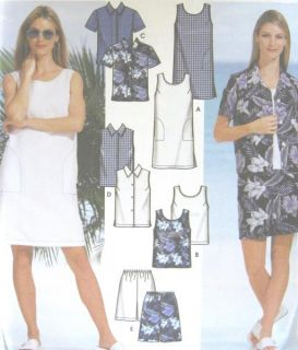 Womens Shirt Shorts Sleeveless Dress Top Sewing Pattern Button Elastic Easy 7235