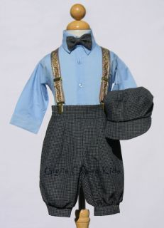 New Baby Boys Sky Blue Charcoal Knickers Vintage Suit Outfit Easter Christmas CB