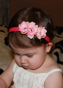 Baby Hot Pink Triple Small Flower Roses Skinny Headband