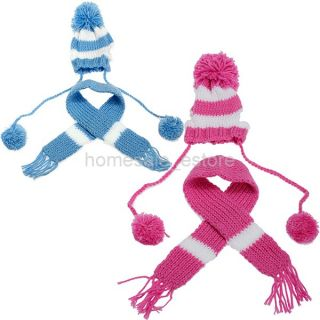 Pet Dog Winter Warm Knitted Hat Scarf Pom Pom Cap Collar Clothes Apparel Costume