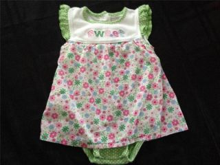 Baby Girl Clothes Carter's Sweet Green Floral Baby Girl Onesie Dress 18 Months