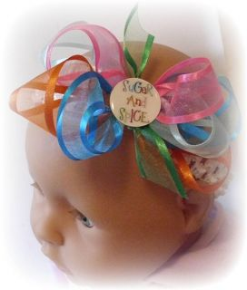 Pink Green Turquoise Blue Sugar Spice Newborn Baby Infant Girl Hair Bow