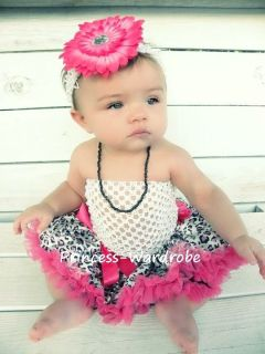 Baby Hot Pink Leopard Pettiskirt White Crochet Tube Top