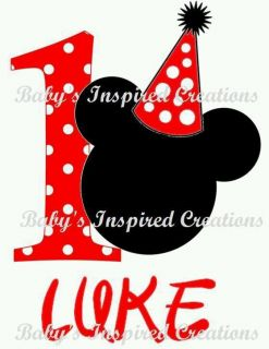 Personalized Baby Boy Toddler Mickey Mouse Birthday Onesie Tshirt 12M 24M Up